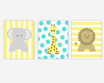 Safari Animals Baby Nursery Wall Art Yellow Gray Grey Turquoise Jungle Giraffe Elephant Lion 3 Print Set Baby Nursery Decor Animal Prints