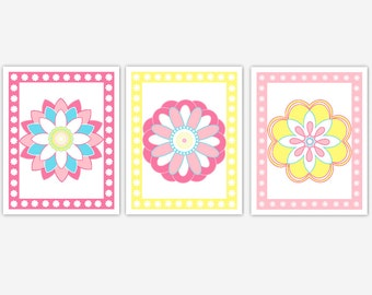 Baby Girl Nursery Wall Art Flowers Floral Bedroom Prints Baby Girl Decor Girl Bedroom Wall Art Pink Yellow Flower Art Baby Nursery Decor Art