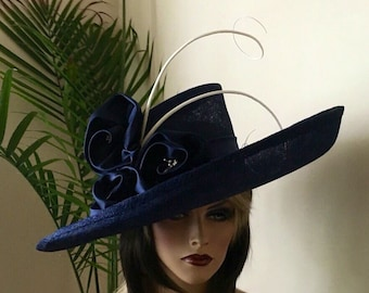 Kentucky Derby hat. Royal Ascot .Formal hat. Navy blue wide brim hat for Del Mar races, wedding or other occasions