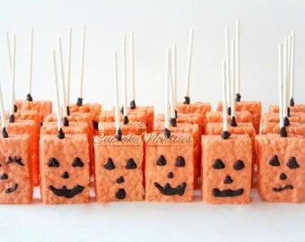 Halloween Cookies Pumpkin Cookies Jack O Lantern Halloween Favors Halloween Rice Krispies Trick or Treat Jack O Lantern Spider Frankenstein