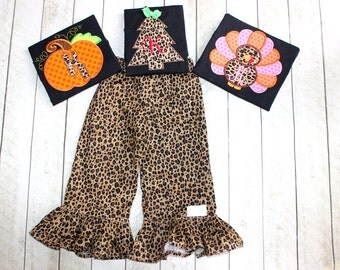 3 holiday outfit sets Girls Thanksgiving Christmas Halloween outfit Toddler Girl Matching leopard Christmas Tree Pumpkin Turkey ruffle pants