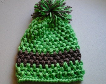 Mint green with sparkle tan popcorn stitch slouch hat toddler