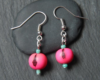 Neon acai seed earrings