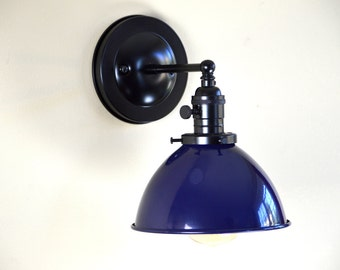 Wall Sconce Lighting with Blue Metal Industrial Dome Shade