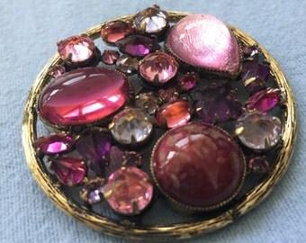 Vintage Rhinestone Pin, Schreiner New York, Pink/Rose/Purple
