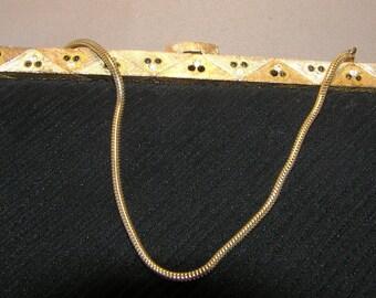 Lovely Vintage Currugated Black Silk Evening Bag
