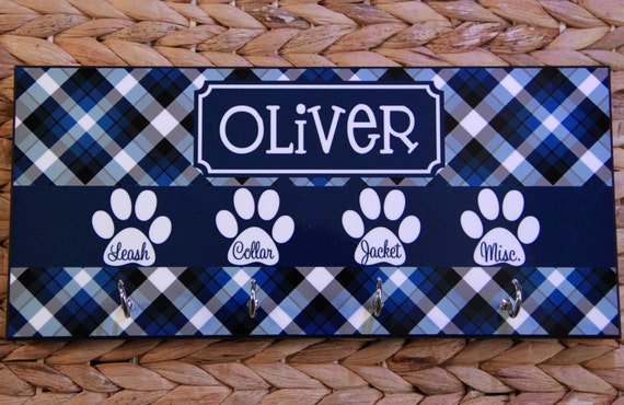 Plaid Leash Holder Rack Hanger Monogrammed Personalized Gift Organizer Dog Pet Accessories Dogs Pets Wall Decor