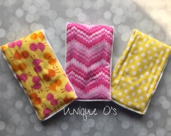 Flannel burp cloth trio, little chicks with coordinating yellow dot and pink plain, baby shower gift, burp rags, chickens, ready to ship!