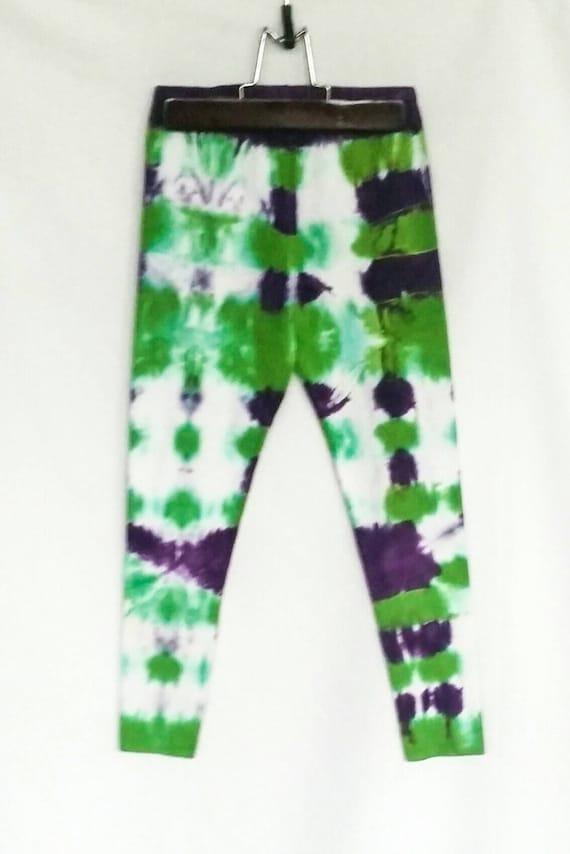 Tie Dye Leggings/Youth Leggings/Green and Purple Tie Dye/Eco-Friendly Dying