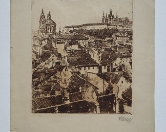 Original Retro Art Print of Prague