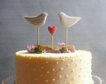 Rustic Wedding Cake Topper, Beach Cake Topper, Beach Wedding Decor, Love Birds Cake Topper, Wooden