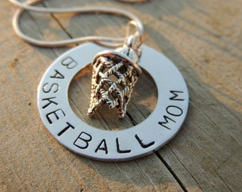 Personalized Hand Stamped BASKETBALL MOM necklace custom jewelry Sports jewelry