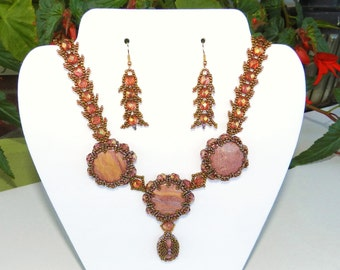 Statement Set Necklace & Earrings Rose Gold Pink Rhodonite Pendant Beadwork Gemstone Necklace, Crystals Seed Beads , St. Petersburg Stitch