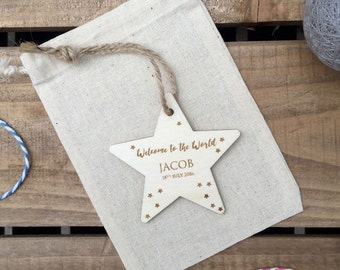 NEW BABY // Welcome to the World Engraved Plywood Star // Hanging Ornament