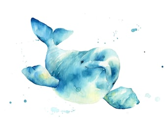 Beluga whale No.2 Print, watercolor beluga whale print by Katrina Pete. Nautical