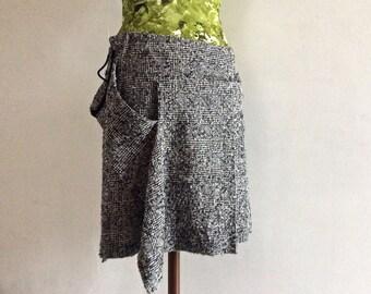 Yohji Yamamoto Y's wool kilt skirt made in Japan woven wool pleated skirt wool skirt a-line skirt black and white prince of wales plaid