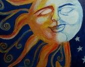 Hand-painted Moon and Sun. Acrylic paint on thin canvas 8 by 10