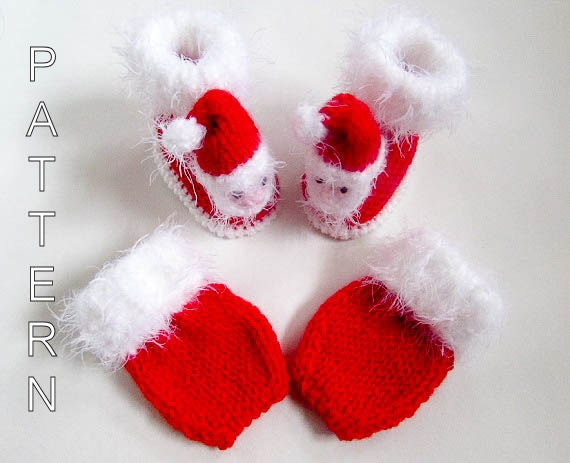 Knitting Pattern Santa Baby Booties Booties by WistfullyWoolen