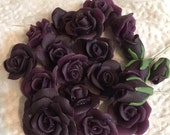 Deep Purple Rose, Rose bead, Floral, Floral bead, Floral Cabochon, Flat back, Purple Rose 11mm, Dpr68