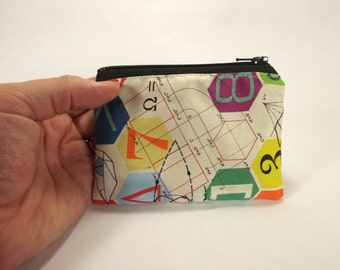 Math zipper pouch, mathematical symbols coin purse, graph, chart, dna, science change purse, coin wallet, coin pouch