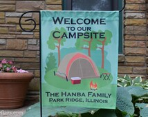 Personalized Camping Flag, Garden or House Flag, Welcome to our Campsite, Tent, CF-14