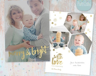 Gold Christmas Card Template - Christmas Photo Card - Photoshop template - AC077 - INSTANT DOWNLOAD