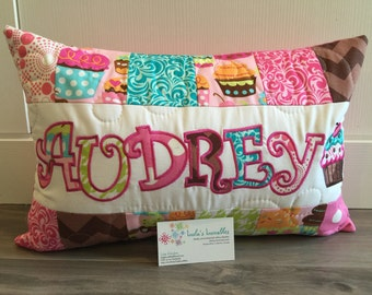 Cupcake children's pillow case with name. 12x18 inches