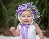 6-12 month size Flower Bonnets