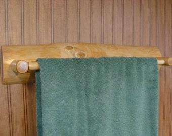 """Rustic Log Bathroom Towel Rack Holder 22.5"""""""