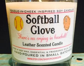 Softball Candle- Baseball Mitt- Leather Scented Soy Candle- All Natural - 8oz - Softball Candle- Softball Gift- Softball Coach