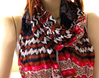 Tribal  print cotton shawl scarf  - Girls gift ideas - Woman gift ideas - Accessories - Scarves - Scarf - Aztec scarves - aztec scarf