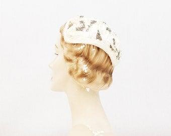 50s White Fur Wedding Hat - White Beaded Fascinator Hat - Vintage 1950s Bridal Cap