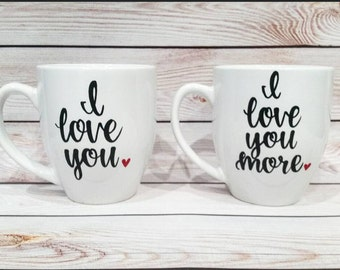 Calligraphy mugs // couple Coffee Mugs // Wedding Gift // Valentines Day gift Idea // I love you mugs // hers and hers mugs