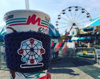Ferris Wheel Cozy, Ferris Wheeel Coffee Cozy, Ferris Wheel Mug Cozy, Summer Coffee Cozy, America Coffee Cozy, Carnival Coffee Cozy, Coffee