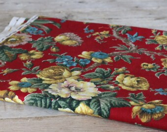 Vintage Barkcloth Red Floral Fabric from 1950's