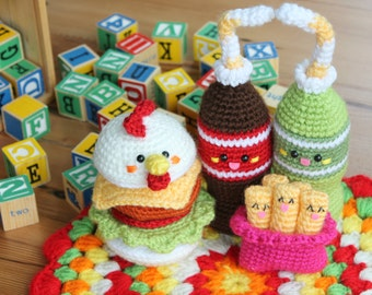 Chicken Burger & Friends Amigurumi Food Crochet Pattern Play food