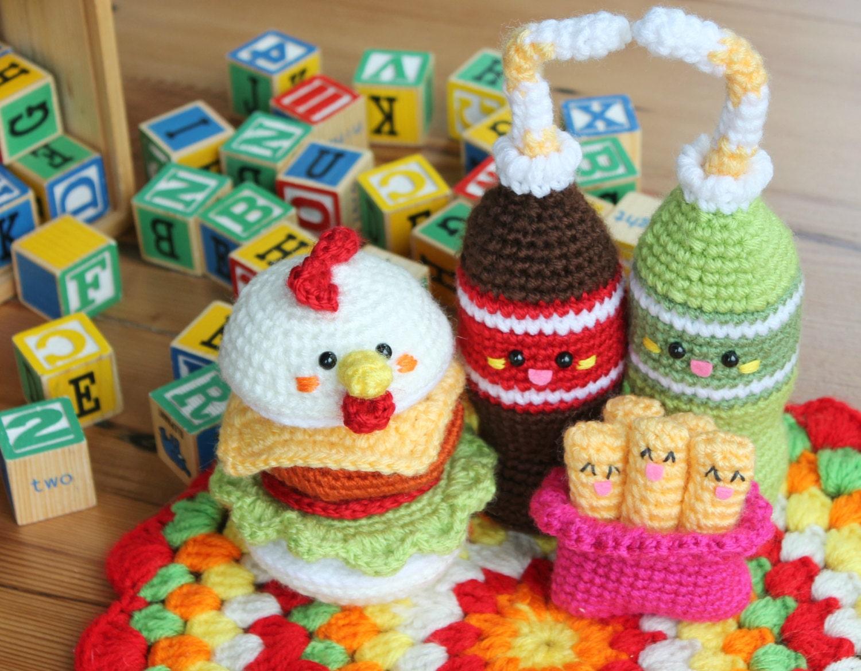 Amigurumi food Chicken Burger Friends Crochet Pattern Play