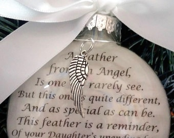 """In Memory of DAUGHTER Memorial Ornament w/ Angel Wing Charm """"A Feather From a Guardian Angel"""" Sympathy Gift for Parents Loss of Child Gift"""