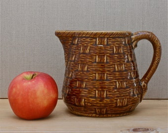 french vintage ceramic pitcher, 1940's home, toffee coloured basketweave effect, rustic cottage, hand made in France, Sarreguemines France