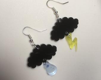 Black cloud 'RAIN & LIGHTNING' Laser cut Acrylic drop earrings