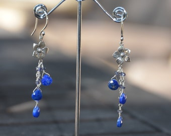 Flower and lapis earrings