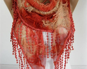 Elegant  Scarf - Cowl with Lace Edge -Fashion accessories- gift for her-scarves
