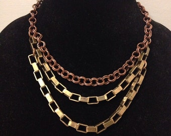 Copper and Gold Multi Chain Necklace