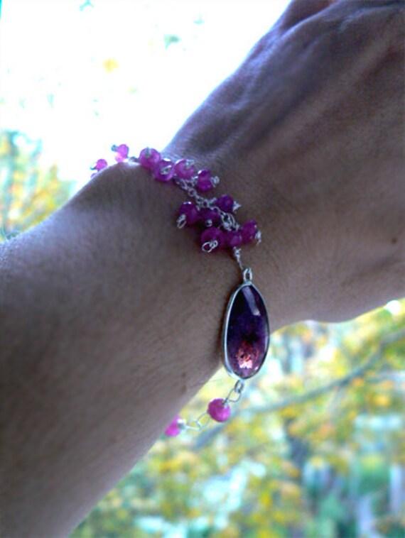 Pink Sapphire bracelet- Dainty gemstone bracelet-Sapphire cluster bracelet- Silver fashion pink sapphire bracelet-Women jewelry gift