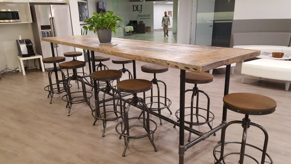 Reclaimed wood dining table conference office by for 12 foot dining room table