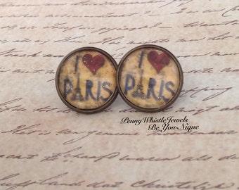 Paris Stud Earrings, Eiffel Tower Studs, Paris Jewelry, I Love Paris Earrings, Bronze Earrings, Stud Earrings, Paris Earrings