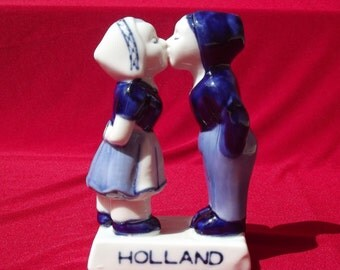 Porcelain Figurine from Netherlands,  Delft Blue, Dutch Boy Kissing Girl