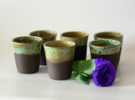 Set Of Six Ceramic Iced Coffee Mugs No Handle Iced By