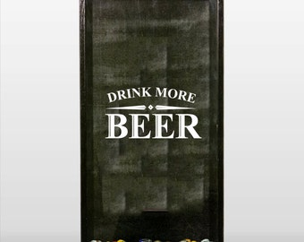 Drink More Beer - Vinyl Sticker Decal- Decal Only - Make a beer cap shadow box or use on a tumbler