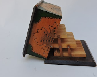 Vintage Cigarette Dispenser -  Wood Mechanical Cigarettes Box - Articulated Cigarettes Holder - Tobacciana Collectibles